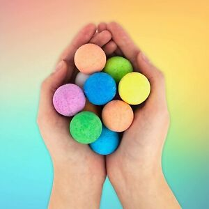 Rainbow Colour Scented Bath Bombs Set of 10 Kids Adult Fragrant Gifts Xmas