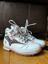 Timberland Womens Euro Hiker Boot White Pink Hearts SIZE 7 M