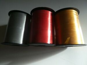 JOB LOT 3 X 500m curling ribbon - 3 ROLLS - CHRISTMAS GIFT WRAP RED GOLD SILVER