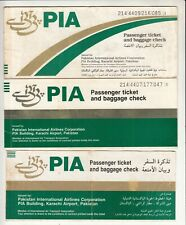 PAKISTAN PIA AIRLINES PASSENGER TICKET AND BAGGAGE CHECK LOT OF 3 DIFF LOT B