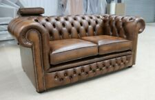 CHESTERFIELD TUFTED BUTTONED 2 SEATER SOFA COUCH REAL VINTAGE TAN LEATHER DBB