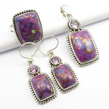 925 Silver MOHAVE PURPLE TURQUOISE, AMETHYST Pendant Earrings Ring Sz 7.75 SET