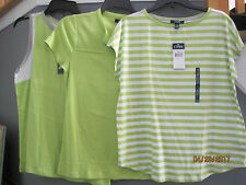 THREE NEW with tags Chaps Top Tops Shirt Size L Large Green