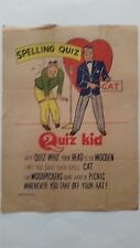 Rare Vintage Mid 20's to 30's Inspirational,Self Help poster. QUIZ KID