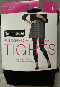 No Nonsense  Fleece Lined FOOTLESS TIGHTS size Large. Black