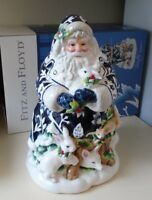 """Fitz and Floyd Blue & White Bristol Holiday Santa Cookie Jar New in Box 12.5"""""""