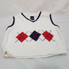Sweater Vest White Pull On Knit Size 3 3T Christmas Diamond Holiday Red Blue