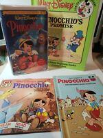 Pinocchio VHS Walt Disney's Classic 60th Anniversary & 3 Vintage Books