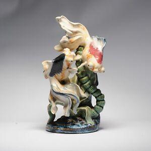 Vintage 20th C Chinese porcelain PROC Goldfish Statue China Underglaze