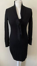 Clements Ribeiro 100% Merino Wool Black Dress Size M UK 12 Classic Career LBD