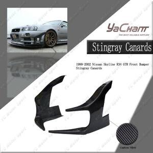 Carbon Fiber GD-Style Front Bumper Stingray Canards For Nissan Skyline R34 GTR