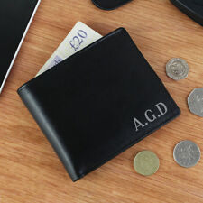 Personalised Initials Mens Black Leather Wallet Birthday Christmas Gift For Him