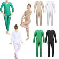 Girls Ballet Gymnastics Leotard Long Sleeve Full Body Jumpsuit Bodysuit Costume