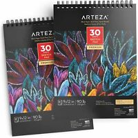 "Arteza Black Paper Sketch Pad, 9"" x 12"", 30 Sheets - Pack of 2"