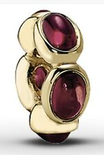 """NEW"" Pandora 14k gold spacer/charm with five purple rhodolite stones 750802RHL"