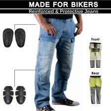 Mens Motorbike Blue Cargo Motorcycle Denim Trousers Jeans Protective Lining Pant