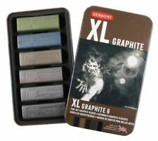Derwent XL Graphite Tin of 6 Shades - Chunky Fine Art Graphite Blocks