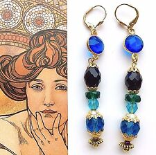 New Vintage St EARRINGS Czech Glass Austria Crystal Green Blue Gold Plate #1195