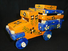 1980's Haitian Wooden Hand Painted Tap Tap Folk Art Vehicle Sculpture (Stea) 1st
