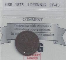 **1875 BB**Germany, 1 Pfennig, Coin Mart Graded**EF-45**