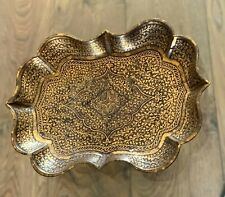 ANTIQUE 19TH CENTURY KOFTGARI INLAID GOLD PIN DISH INDO PERSIAN