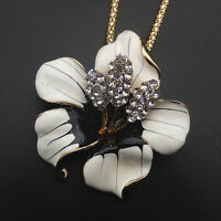 Betsey Johnson White Enamel Crystal Bauhinia Flower Pendant Long Necklace/Brooch