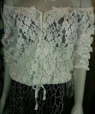 Abercrombie & Fitch Boho Hippie Shirt Off On Shoulder Lace Blouse White Sz med c