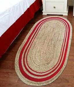 red & beige natural jute oval rug hallway floor rag rug hand braided oval rugs