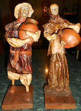 Statues Handmade People Old Timey Set of 2 Man Woman Figures Homemade