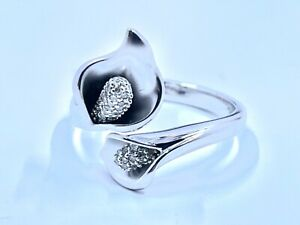Affinity Diamond Calla Lily Ring Sterling Silver New Size 8