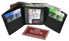 Black RFID Scan Blocking Men's Leather Trifold Wallet Front Pocket