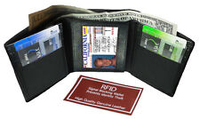 Black RFID Scan Blocking Men's Genuine Leather Trifold Wallet