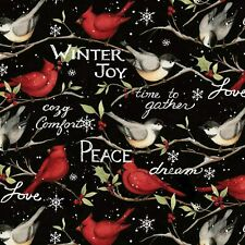 New listing Christmas Winter Birds Coordinates Black 100% Cotton Fabric by The Yard