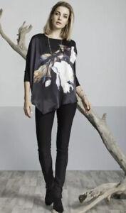 VERGE NZ black print Silk Wishful top ~ sz S  (rrp $299)