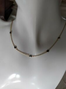 Stunning 9ct gold Necklace with Dark Blue Sapphire stone.