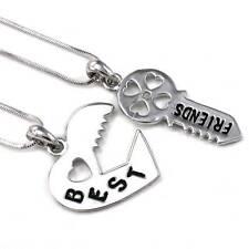 Valentine's Day Gift Love Lock & Key Best Friend Heart Necklace Pendant Charm q1