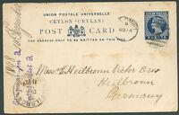 BRITISH CEYLON TO GERMANY Postal Stationery 1898 VF