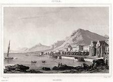 PALERMO: Panorama. Regno delle Due Sicilie. Sicilia. ACCIAIO. Stampa Antica.1838