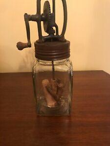 VINTAGE ANTIQUE RARE DAZEY HAND CRANK BUTTER CHURN GLASS JAR 4 CUP/ 1 QUART