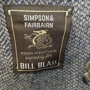 Bill Blass Mens Scottish Wool Jacket 43 XL Gray Blue Herringbone Sport Coat New