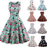 Women 50s 60s Rockabilly Vintage Dress Evening Party Swing Floral Cocktail Dress