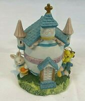 Vintage Easter Ceramic Lighted Village Egg Church with a Bunny & Chick 6""