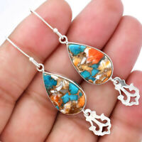 Spiny Oyster Turquoise - Arizona 925 Sterling Silver Earrings Jewelry 4987