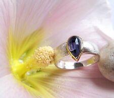 UKM  Silber Ring   Weite  54  Iolith Tropfen 8 x 5 mm  Cabochon 18 KT GG Fassung