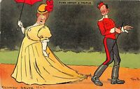 POSTCARD COMIC TOM BROWNE  -  FUSS ABOUT A TRIFLE - CLUMSY BRUTE  !!