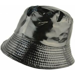Bucket Hat Black PVC Shiny Wet Look Rainproof Womens Mens Fashion One Size
