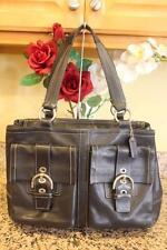 Coach LARGE F06468 Black Leather Soho Double Front Pocket Shoulder Bag (PU150