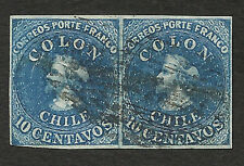 CHILE COLUMBUS Yv 2A Sofich 6 Pair error: line in stamp left, 4 margins WTM 1