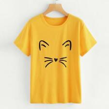 Womens Ladies Cat Print Summer Loose Tops Casual Short Sleeve Blouse T Shirt Tee