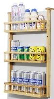 Bamboo Wooden refrigerator rack side wall hanging shelf kitchen storage 冰箱挂架侧壁挂架